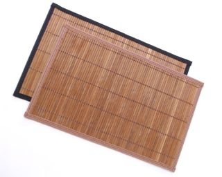 Brown Natural Bamboo Placemats w Black Edge Trim 12x18 Set of 4 Table Linen