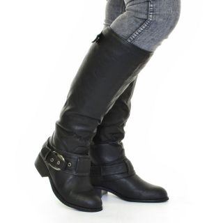Womens Ladies Leather Look Biker Fur Lined Wide Fit Flat Boots Size 3 4 5 6 7 8