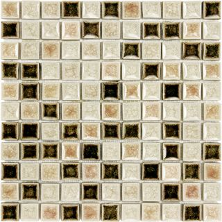 Kitchen Bathroom 1x1 Brown Beige Pink Ceramic Crushed Glass Mosaic Tile