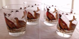 Set of 4 Libby Libbey Pheasant Gamebird Fowl Cocktail Barware Glasses Tumblers