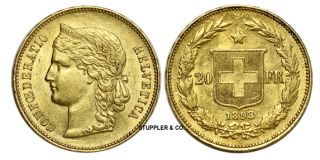 1893 B Swiss 20 Franc Helvetica AU Gold Coin Switzerland Almost Uncirculated