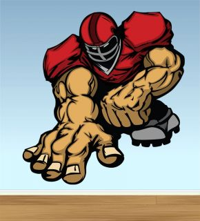 Football Lineman Player Cartoon Fat Decal Wall Graphic Sports Kids Room Man Cave