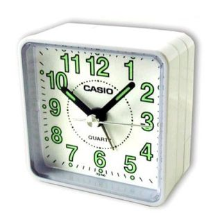 Casio TQ140 Bedside Desk Beep Alarm Clock Perfect for Travelling Battery White