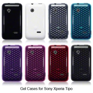 TPU Gel Case Cover for Sony Xperia Tipo Solid Black Purple Hot Pink Blue