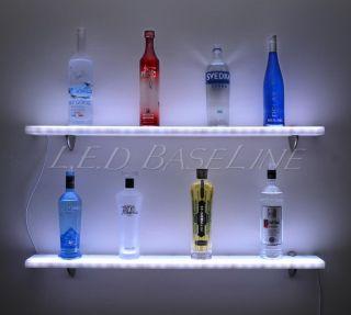 "44"" LED Lighted Wall Mounted Floating Shelf Liquor Bottle Glass Bar Display"