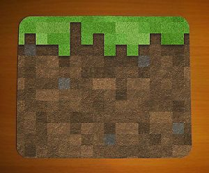 Minecraft Dirt Block Icon Mouse Mat Pad Small Computer PC Game Gaming Brand New