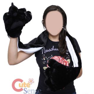Black Bear Big Paw Fluffy Plush Gloves with Scarf Animal Big Foot Gloves