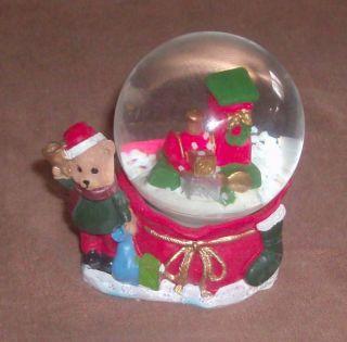 Christmas Mini Snow Globe Teddy Bear Train in Globe