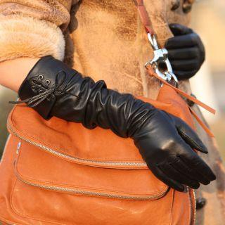 Gothic Women Opera Long Luxury Italian Nappa Leather Gloves Tips for Fur Coat