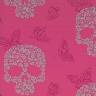 New Luxury Muriva Skulls Flower Butterfly Silver Glitter Vinyl Wallpaper Roll