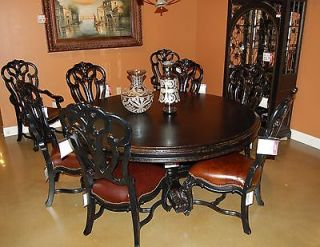 Stanley Furniture City Club Round Pedestal Table 4 Leather Game Chairs on Caster