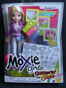 New Moxie Girlz Glitterin' Style Avery Doll Fashion Designs Stickers Glitter