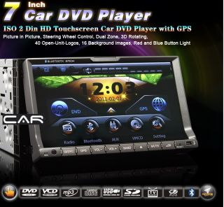 "Radio 2Din GPS DVD 7"" HD Car Stereo Player Bluetooth USB TV iPod SD LED Movil"