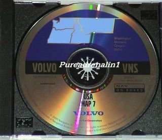 2000 2001 Volvo VNS S60 S80 V70 XC70 Navigation Map Disc CD 7 or ID WA MT