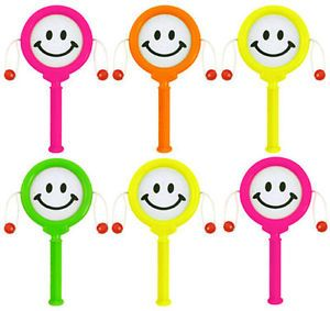 6 Mini Smiley Face Hand Drums Pinata Toy Loot Party Bag Fillers Wedding Kids