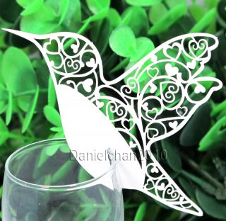 100 Humming Bird Name Place Card for Wine Glass Wedding Bomboniere Favors Ivory