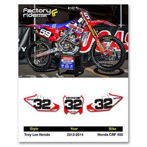 2013 2014 Honda CRF 450 Troy Lee Design Number Plate Graphics by Enjoy Mfg
