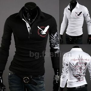 Vintage Men's Casual Trendy Slim Fit Tattoo Graphic Printed Design Polo T Shirts