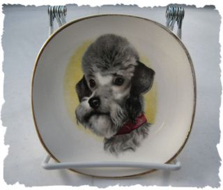 Vintage Weatherby Hanley Gray Poodle Dog Small Plate