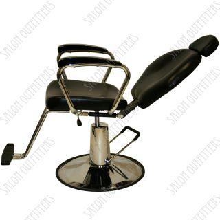 All Purpose Hydraulic Reclining Barber Chair Black Wood Shampoo Salon Equipment