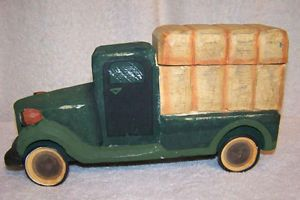 James Haddon Collections Handcarved Painted Wood Wooden Farm Hay Truck Display