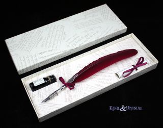 Large Dark Red Italian Feather Quill Pen with Ink Set
