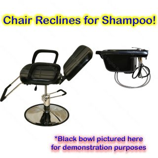 Reclining Hydraulic Barber Chair Ceramic Shampoo Bowl Sink Salon Hair Equipment