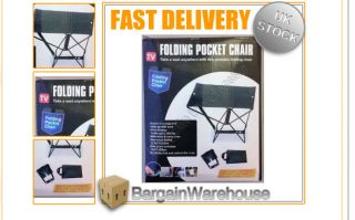 New Strong Portable Folding Pocket Chair Seat Outdoor Fishing Camping Garden