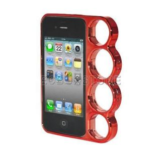 Red Lord Rings Brass Knuckles Hard Bumper Side Rim Cover Case for iPhone 4 4S