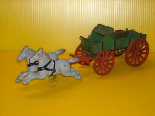 Antique Cast Iron Toy Wagon Cart Stage Coach w 2 Horses