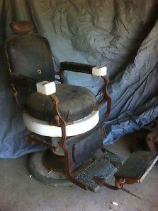 Koken Antique Vintage Barber Chair Mercantile Porcelain Brass Iron Leather