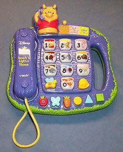 Vtech Disney Winnie The Pooh Teach 'N Lights Phone Talking Kids Toy Used Works