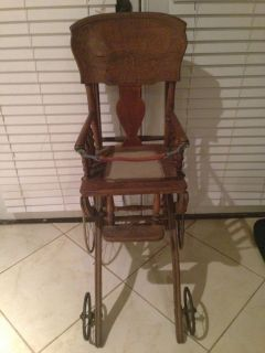 Antique Vintage 1800's Wooden Baby Stroller High Chair Combo w 4 Metal Wheels