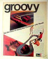 1967 Revell Mustang Camaro Kids Toy Slot Car Race Set Christmas Promo Trade Ad