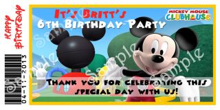 20 Custom Disney Mickey Mouse Clubhouse Birthday Party Water Bottle Labels