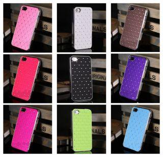 New Gypsophila Silver Side CZ Gel Slim Hard Case Cover iPhone Apple iPhone 4 4S