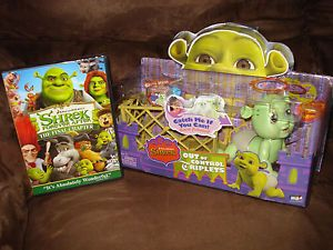 Kids Shrek Triplet Baby Boy Talking Fergus Toy Doll Figure Playpen DVD Movie Lot