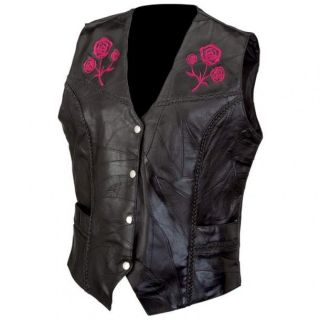 New Ladies Black Genuine Leather Motorcycle Biker Vest Embroidered Rose Patches