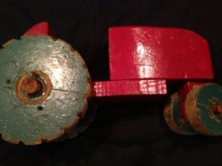 Antique Hand Made Wooden Farm Country Primitive Folk Art Tractor Toy Late 1800s