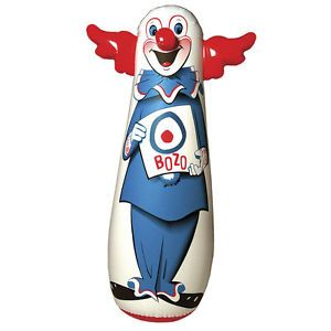 "New Bozo The Clown Inflatable Bop Bag 46"" Kid's Favorite Soft Boxing Toy"