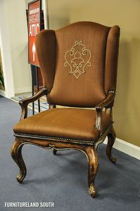 Marge Carson Bordeaux Sultan Chocolate Wing Chair