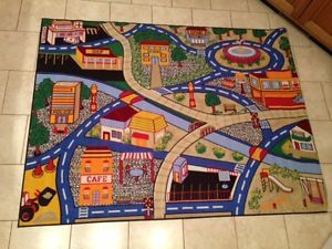 Kids Play Mat School Police Fire Truck Activity Game Rug Toy Race Cars Area Rug