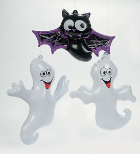 6pc Inflate Ghosts Bat Halloween Decor Haunted House