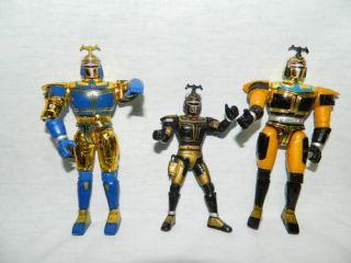 Lot 3 Vtg 1997 Bandai Big Bad Beetleborgs Action Figures Yellow Gold Blue Black