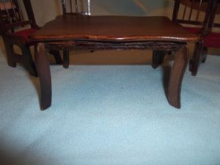 Vintage Mahogany Country Style Dining Kitchen Table 4 Chairs Dollhouse