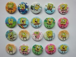 20pcs Random 30mm Spongebob Button Pin Badge Kids Party Bag Fillers Toys Collect