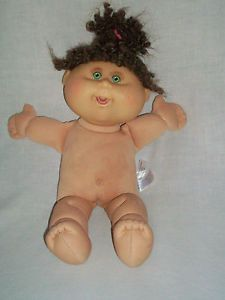 """15"""" Xavier Roberts Cabbage Patch Kid Brown Curly Hair Green Eyes Girl Doll"""