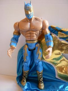 WWE Sin Cara Mistico Toy Luchador Action Figure Blue Shinny Mask
