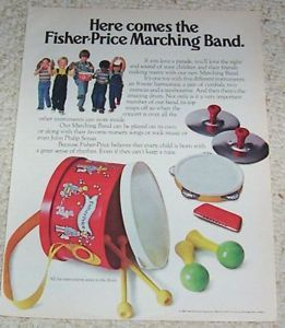1980 Advertising Page Fisher Price Toys Marching Band Kids Vintage Print Ad