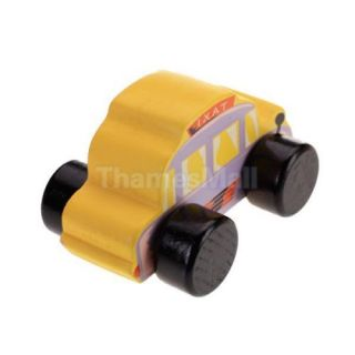 Orange Wooden Taxi Cab Car Kids Children Play House Game Toy Perfect Gift